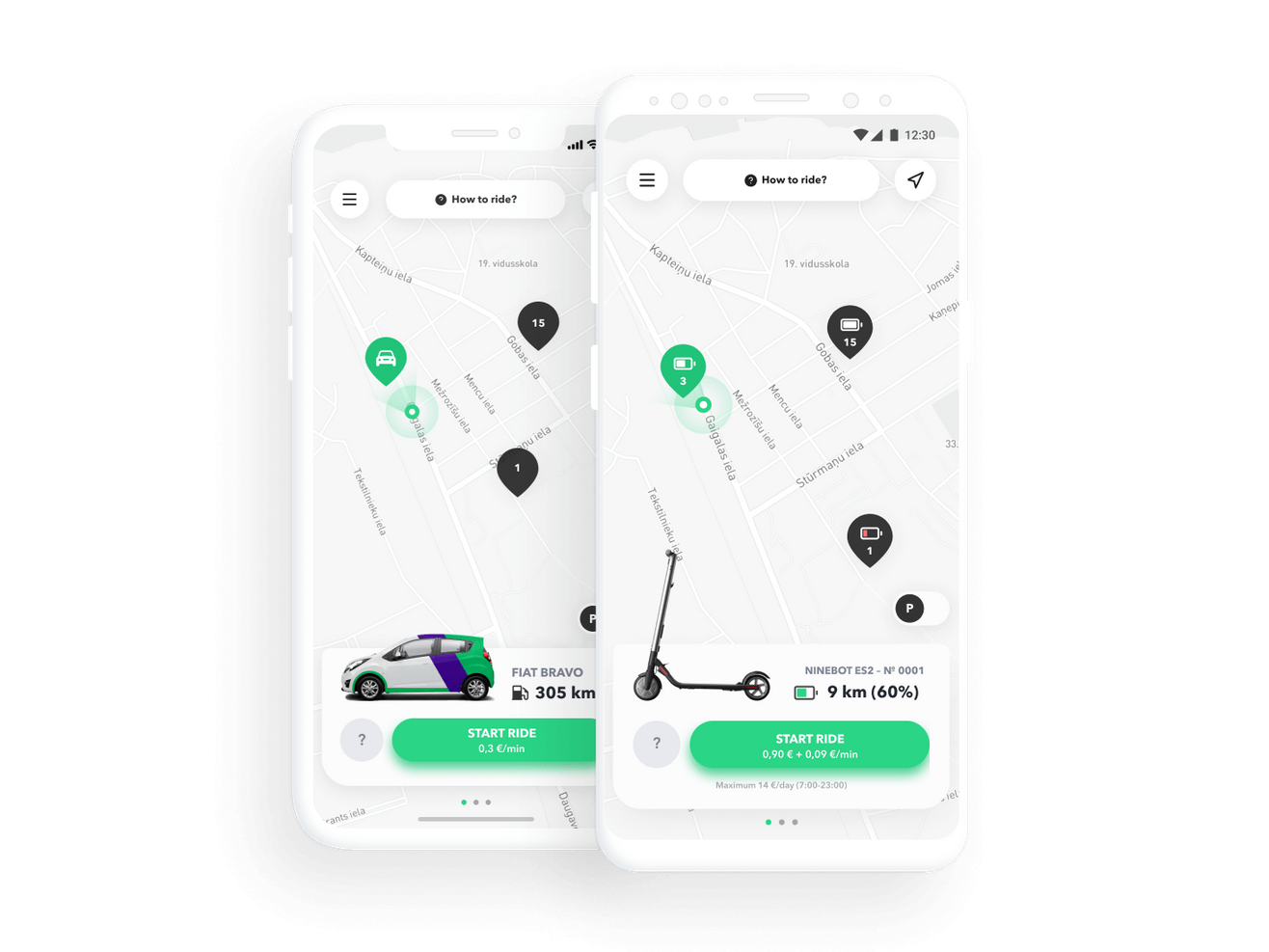 Car bike and scooter sharing app by ATOM Mobility