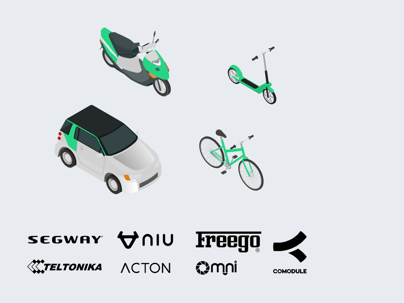 integrations with segway ninebot niu teltonika comodule freego omni acton and other vehicles and iot