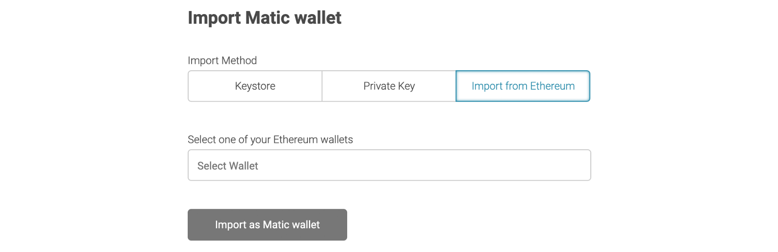 Import an Ethereum wallet into Matic