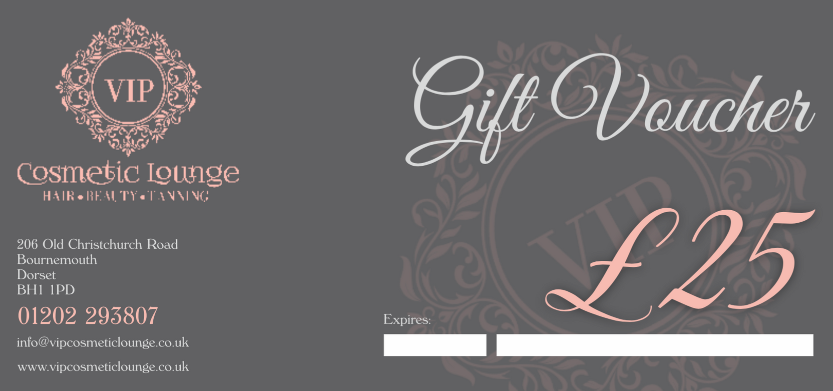 £25 cosmetic beauty treatment gift voucher