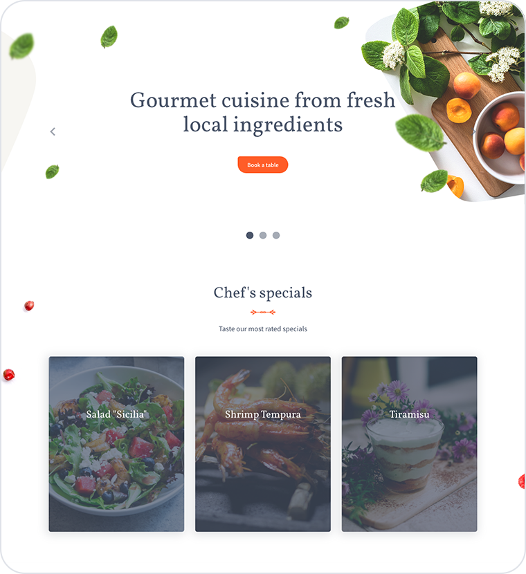 Restaurant website templates: weblium