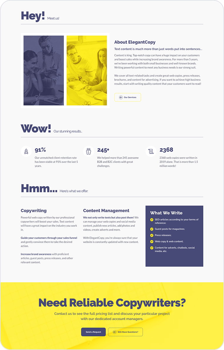 Copywriting website templates