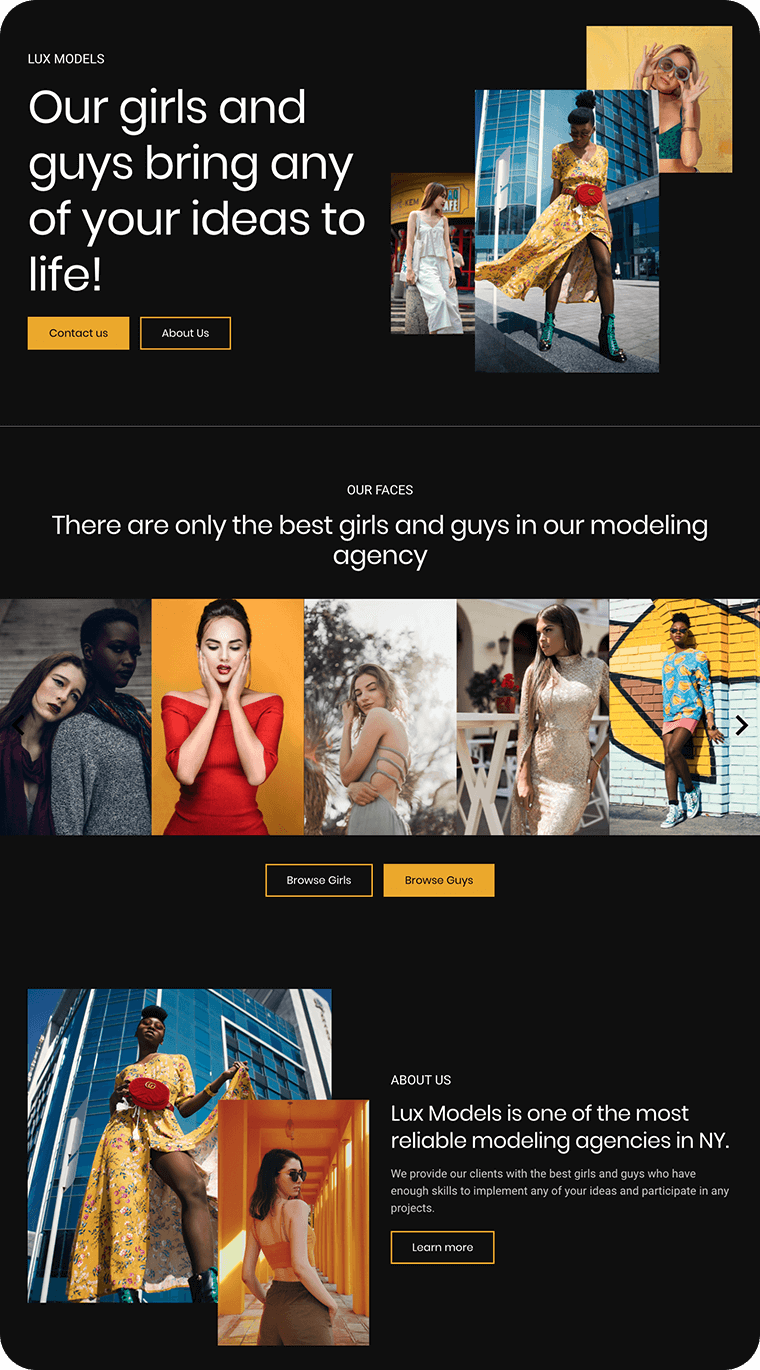 Modeling agency templates