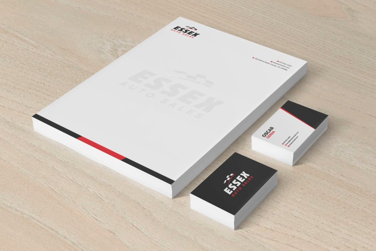 Essex Auto Sales Logo, Letterhead, and Business Cards Designed by Splurge Media