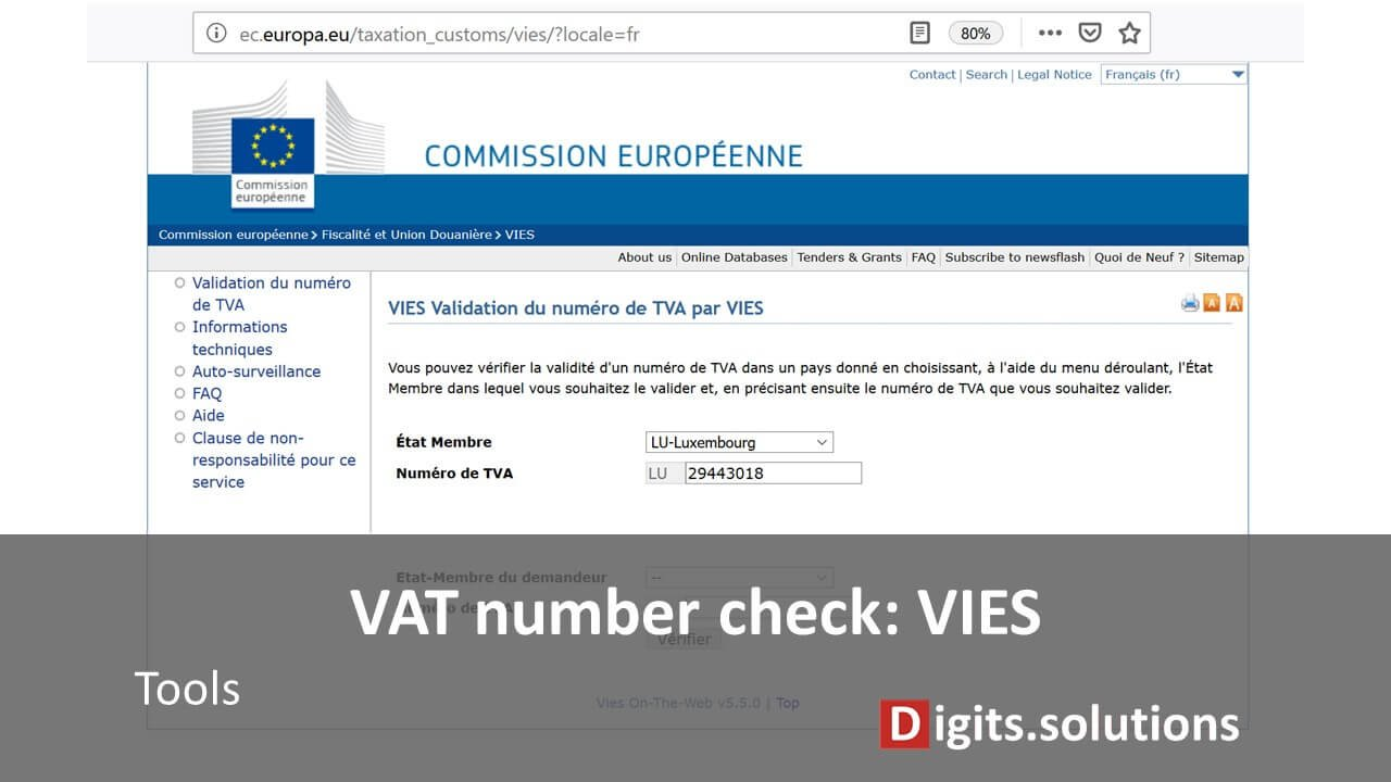 Checking a VAT number, the European Commission VIES tool