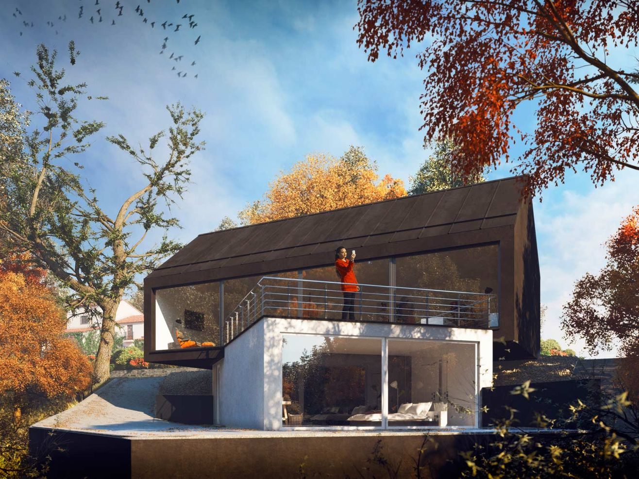 3d exterior rendering of Cottage in the fall