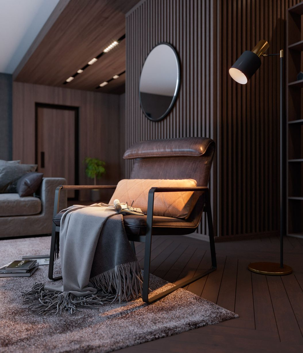 3d interior visualization of living room