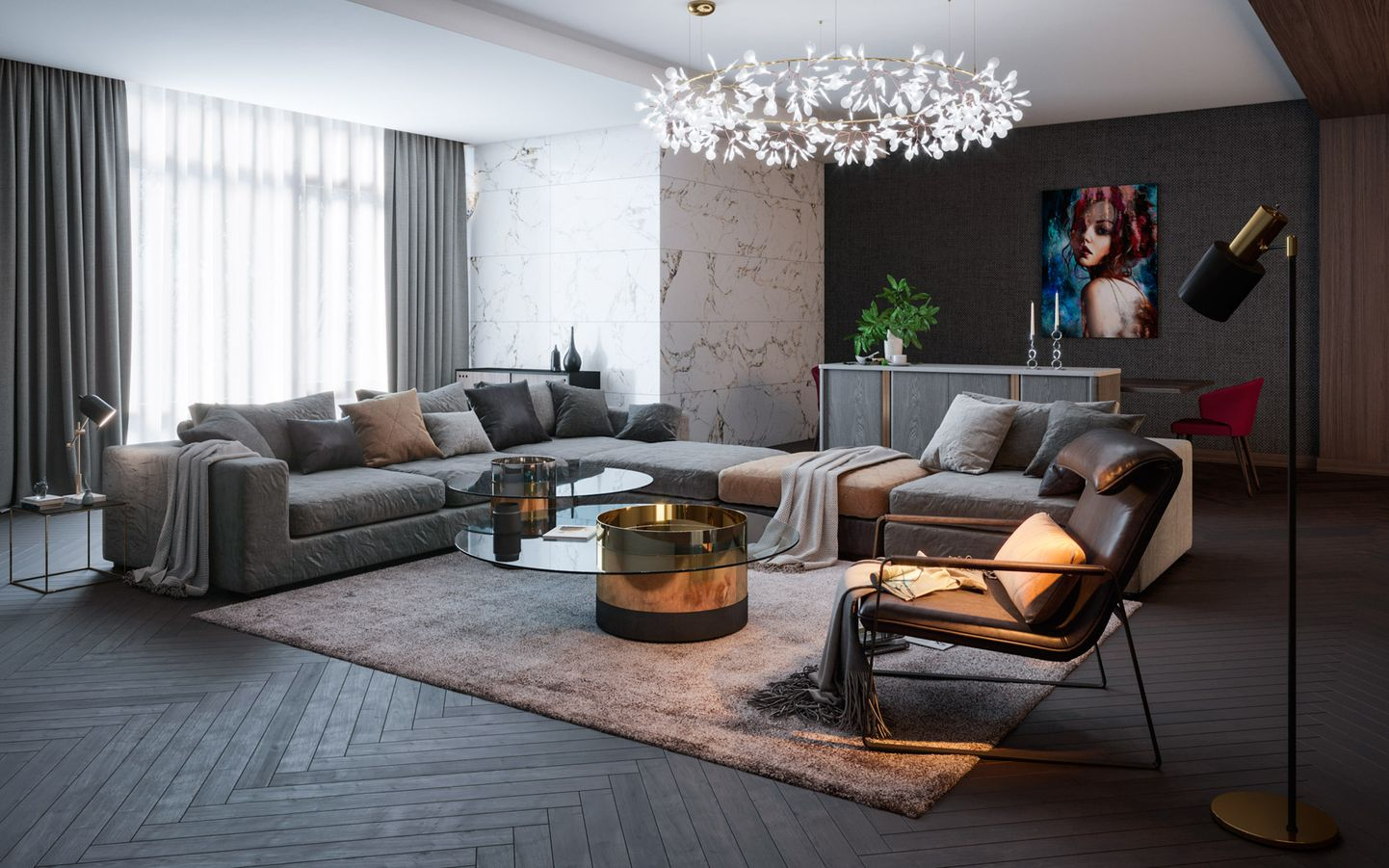 3d living room visualization in an apartment