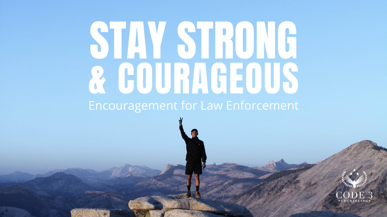 Photo of a man standing on the top of a mountain with his arm in the air feeling confident as a law enforcement officer after receiving counseling support.