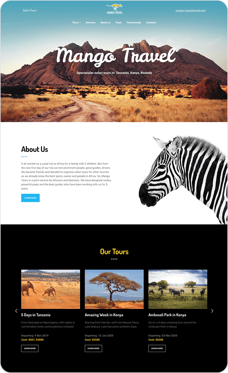 Traveling website templates