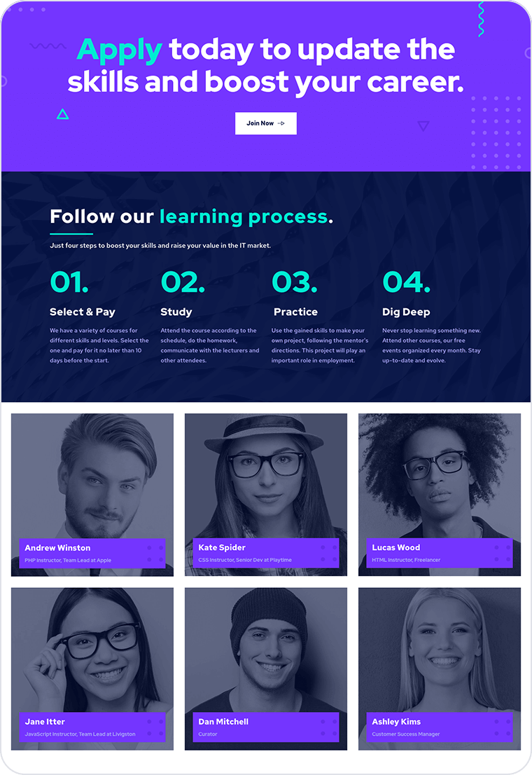 Coding course website templates - weblium